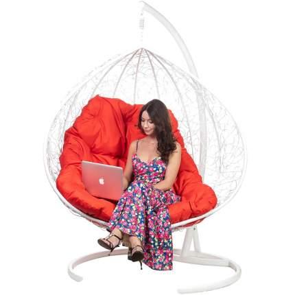 Подвесное кресло Bigarden Gimini белое со стойкой красная подушка