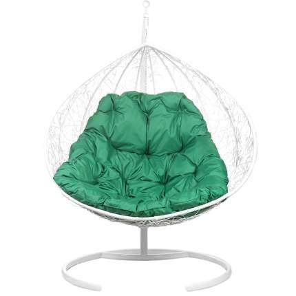 Подвесное кресло Bigarden Gimini белое со стойкой зеленая подушка