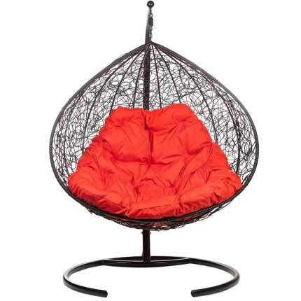Подвесное кресло Bigarden Gimini черное со стойкой красная подушка
