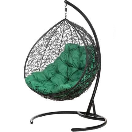 Подвесное кресло Bigarden Gimini черное со стойкой зеленая подушка
