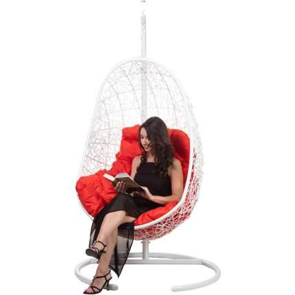 Подвесное кресло Bigarden Easy белое со стойкой красная подушка