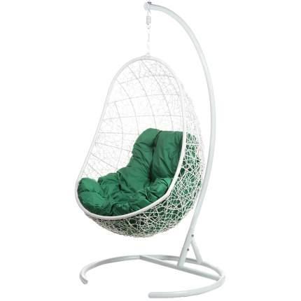 Подвесное кресло Bigarden Easy белое со стойкой зеленая подушка