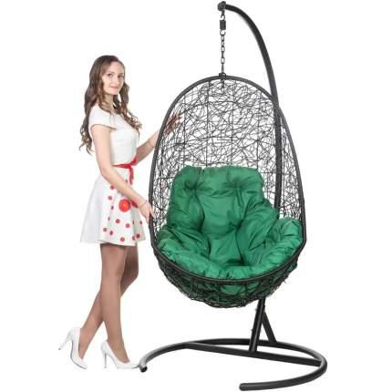 Подвесное кресло Bigarden Easy черное со стойкой зеленая подушка