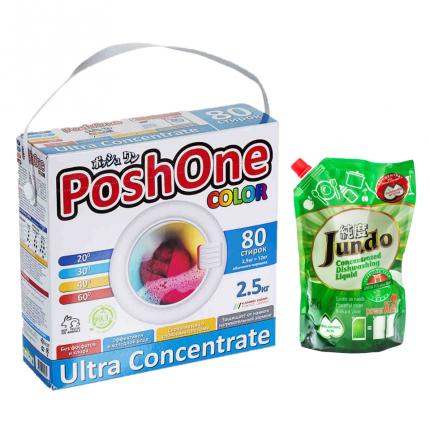 Стиральный порошок Posh One 2.5 кг и эко концентрат для посуды Jundo Green tea Mint 800 мл