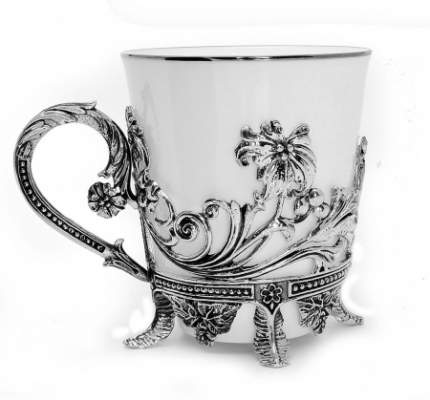 """Чашка чайная """"Цветочная"""" с чернением"""