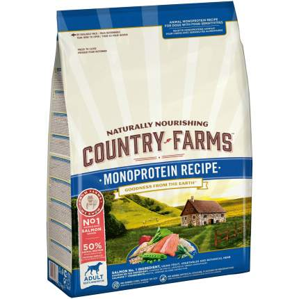 Сухой корм для собак Country Farms Monoprotein Recipe, все породы, с лососем, 10кг