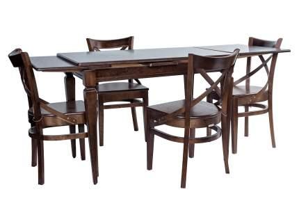 Обеденная группа Греция стол + 4 стула Соло Венский жесткий Темный орех
