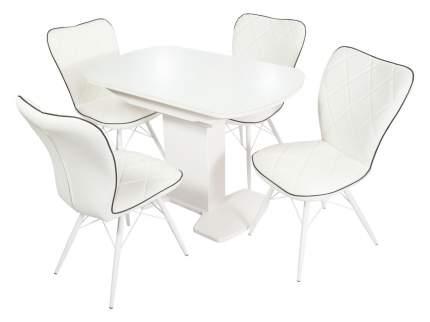 Обеденная группа Стол Корсика + 4 стула Риоха Белый/Батлер 08; Nitro Black; Белый