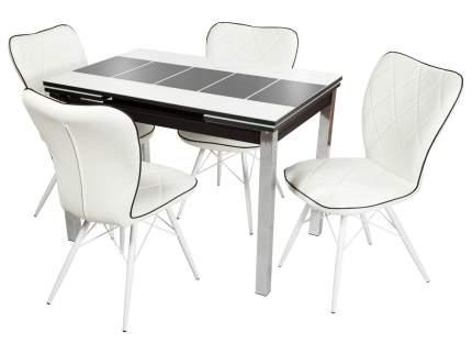 Обеденная группа Стол Шанхай + 4 стула Риоха Белый, Черный/Батлер 08; Nitro Black; Белый