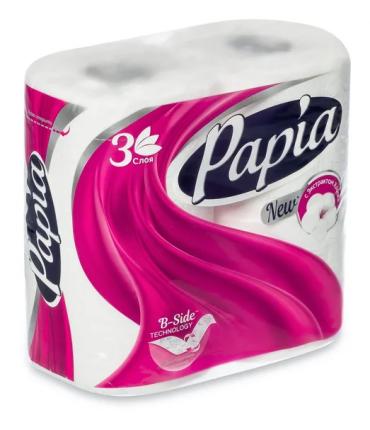 Туалетная бумага Papia белая 3 слоя 4 шт.