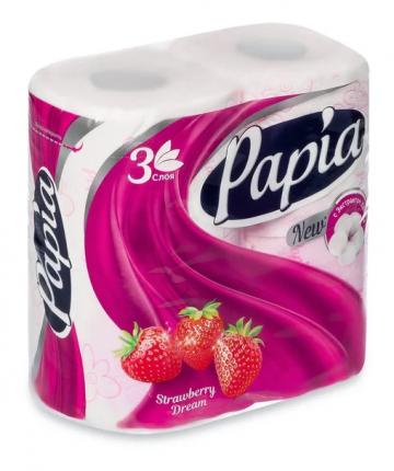 Туалетная бумага Papia Strawberry Dream 3-ех слойная 4 шт.