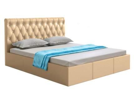Двуспальная кровать с подъемным механизмом Женева Бежевый, экокожа, 1400х2000 мм