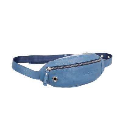 Сумка на пояс женская кожаная Lakestone Bisley голубая