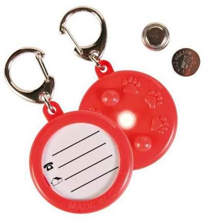 Медальон-адресник для кошек и собак TRIXIE, светящийся, красный, 4 х 4 см