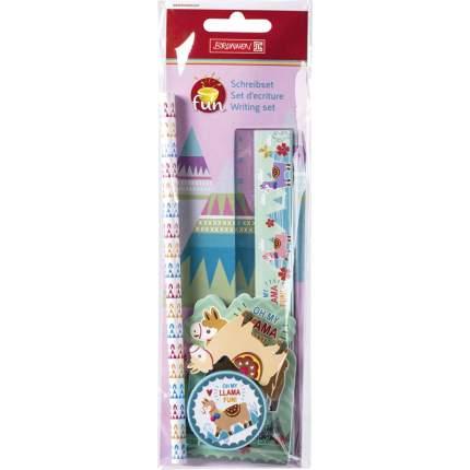 Набор для письма Brunnen Лама: блокнот 20 листов, карандаш, точилка, ластик, линейка 15 см