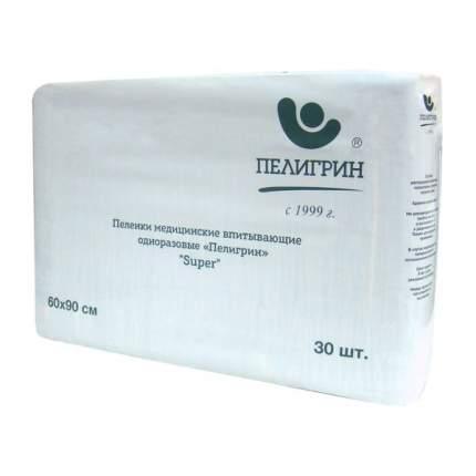Пеленки одноразовые впитывающие Пелигрин Super 60х90 см 30 шт.