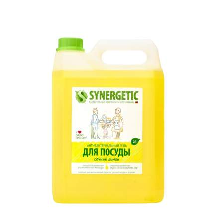 Средство для посуды, овощей и фруктов SYNERGETIC «Сочный лимон» антибактериальное, 5л