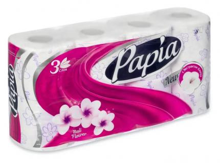 Туалетная бумага Papia Bali Flower белая 3 слоя 8 шт