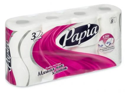 Туалетная бумага Papia белая 3 слоя 8 шт