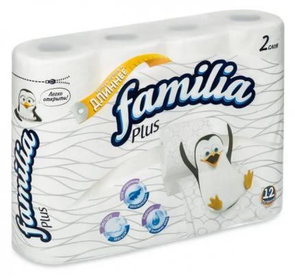 Туалетная бумага Familia Plus белая 2 слоя 12 шт