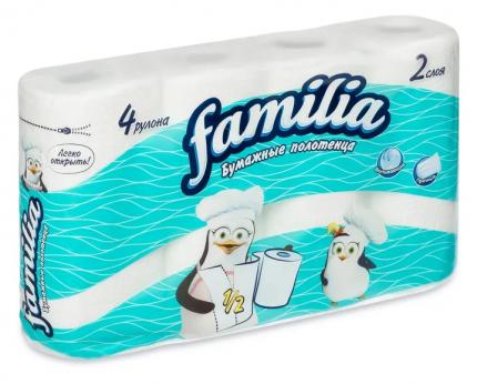 Бумажные полотенца Familia белые 4 штуки
