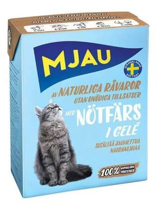 Влажный корм для кошек Mjau, с рубленой говядиной, 16шт, 400г