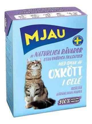 Влажный корм для кошек Mjau, с говяжьим фаршем, 16шт, 400г