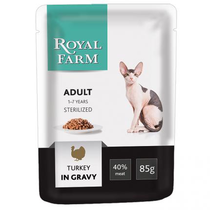 Влажный корм для кошек ROYAL FARM, для стерилизованных,индейка, 24шт, 85г