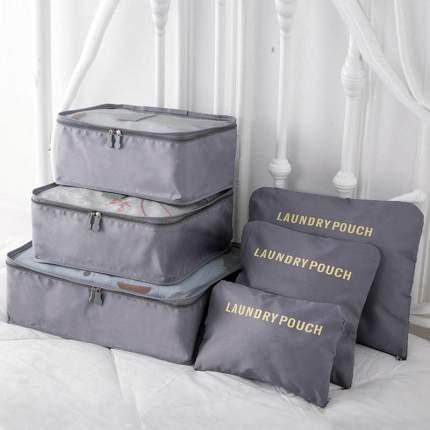 Набор для путешествий и хранения Laundry pouch из 6 сумок органайзеров серый