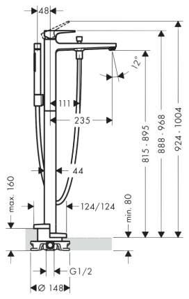 Hansgrohe Metr,смес,д/ванны,напольный 32532000