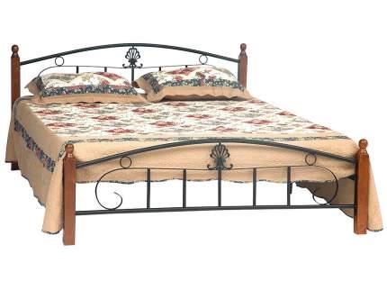 Двуспальная кровать РУМБА (AT-203)/ RUMBA Красный дуб/Чёрный, 1800х2000 мм