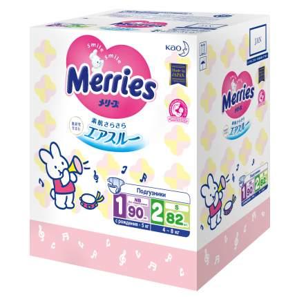 Набор подгузников для новорожденных Merries NB (до 5 кг), 90 шт. + S (4-8 кг) 82 шт.