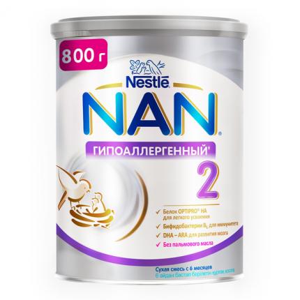 Смесь для профилактики аллергии для здоровых детей NAN OPTIPRO HA 2 от 6 до 12 мес, 800 г