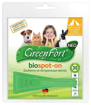 Капли для кошек, кроликов, собак против паразитов GreenFort Neo, 1 пипетка, 1 мл
