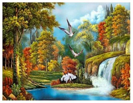 Рисование по номерам птицы на водопаде 30x40 см Рыжий кот ST049