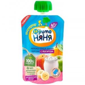 Пюре фруктовое ФрутоНяня Яблоко, груша, банан, персик с йогуртом с 6 мес, 90 г