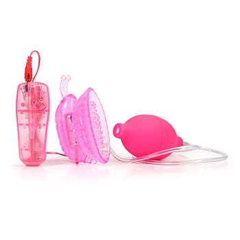 Помпа с вибрацией Howells Pleasure Pump Butterfly Clitoral розовая