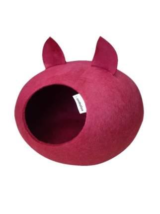 Домик для кошек и собак Zoobaloo WoolPetHouse с ушками бордовый, 40x40x20см