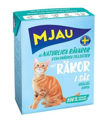 Консервы для кошек и котят Mjau Chunks in Sauce, с креветками в соусе, 16шт по 370г