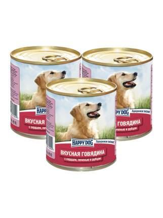 Консервы для собак Happy Dog, говядина с сердцем, печенью и рубцом, 3шт по 750г