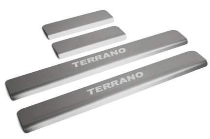 Накладки на пороги RIVAL для Nissan Terrano III 2014-н.в., с надписью, 4 шт., NP.4115.3