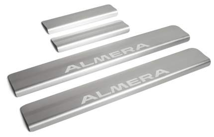 Накладки на пороги RIVAL для Nissan Almera G15 2012-2018, с надписью, 4 шт., NP.4104.3