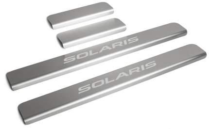 Накладки на пороги RIVAL для Hyundai Solaris II 2017-н.в., с надписью, 4 шт., NP.2312.3