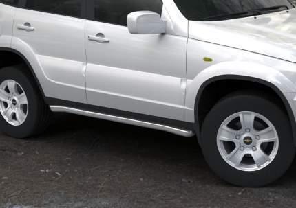 Защита порогов d57 Rival для Chevrolet Niva I 2009-н.в., нерж. сталь, 2 шт., R.1004.007