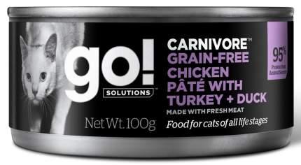 Консервы для кошек Go! Carnivore GF Chicken Pate, с курицей, индейкой и мясом утки, 100г