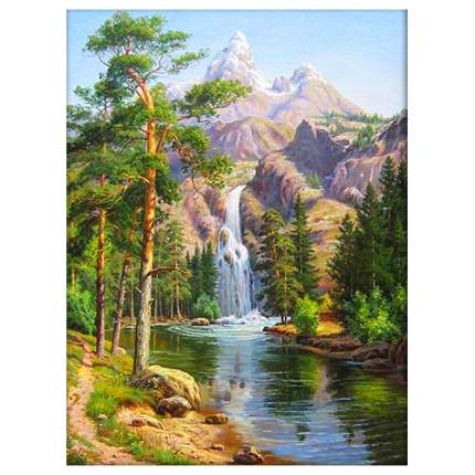 Алмазная живопись Горный водопад АЖ-1347