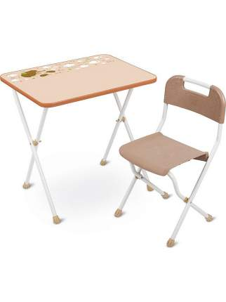 Комплект детской складной мебели Nika Алина КА2/Бежевый со столом и стулом, от 3 до 7 лет
