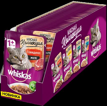 Влажный корм для кошек Whiskas Мясная коллекция, с говядиной в желе, 28шт по 85г