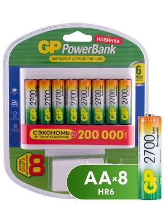 Зарядное устройство GP + аккумуляторы АА (HR6) 2700 мАч, 8 шт + сетевой адаптер