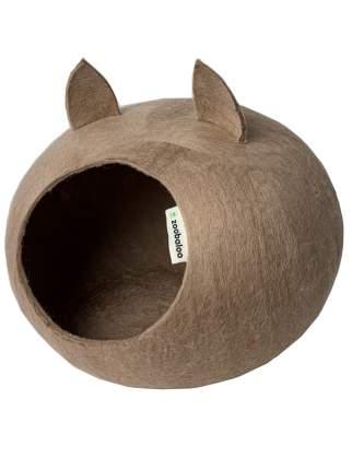 Домик для кошек и собак Zoobaloo WoolPetHouse с ушками L кофе с молоком, 40x40x20см